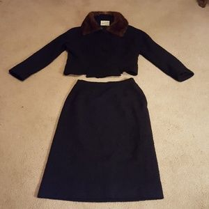 Vintage designer ladies suit with real mink collar